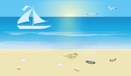 Blue seascape with surf and sandy beach, White yacht, sun, seagull. Art vector illustration. Travel poster. Illustration