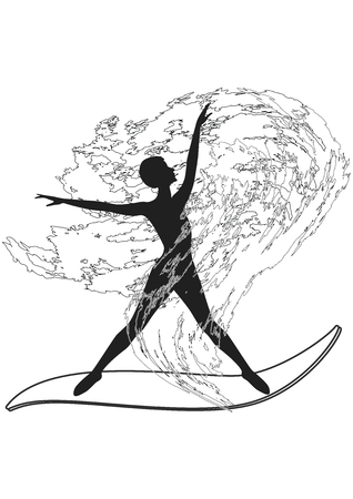 Sketch - Surfer - woman silhouette - wave in grunge style - isolated on white background - art vector.