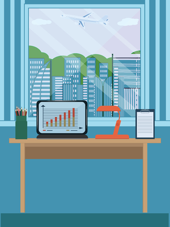 Workplace in the room, a window with a view of the city and a flying plane, minimalism. Flat style, art vector illustration.