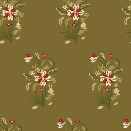 Pattern - bouquet of field abstract original flowers - vector art illustration Illustration