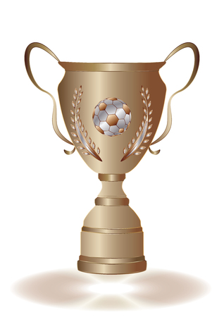 Golden sports cup with laurel branch and soccer ball - isolated on white background - vector art illustration. Illustration