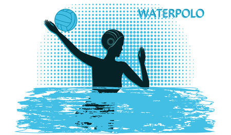 Water polo . Silhouette of woman with ball - blue in grunge style background - vector art illustration Vettoriali