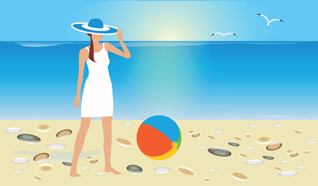 Seascape, woman in summer dress and hat stands on sandy beach. Art illustration vector travel poster. Illustration