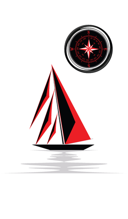 Yacht - red and black sail, compass. Isolated on white background. Art vector illustration.