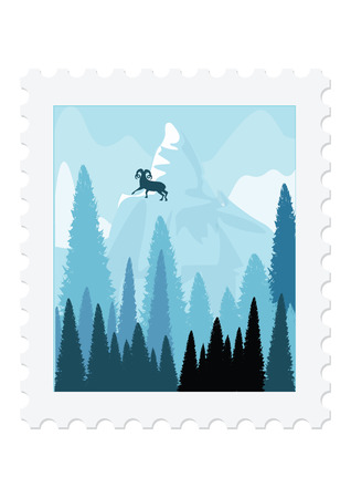 Postage stamp - Nature - A mountain goat on a snow-capped summit. Spruce forest. - isolated on white background - vector art illustration. Illustration