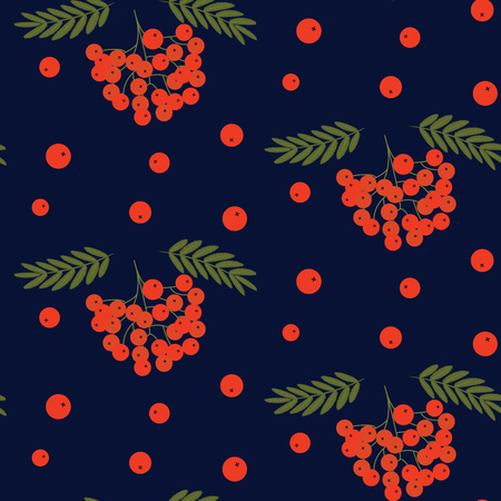 Pattern rowan red with green leaves on a dark blue background. Vector art illustration. Illustration