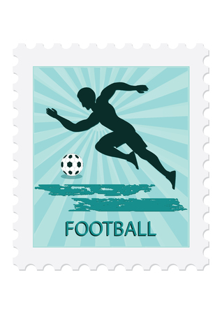 Postage stamp soccer player with ball, isolated on white background. =Vector art illustration. Sports collection.