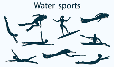 set - Water sports - silhouettes of scuba divers, swimmers - isolated on white background - vector illustration