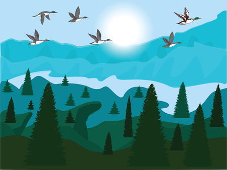 Flock of flying ducks, sunrise, mountain and forest landscape. Vector art illustration. Travel poster. 向量圖像