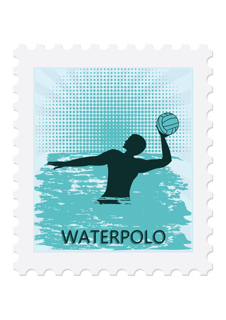 Postage stamp Water polo player with ball, isolated on white background. Vector art illustration. Sports collection.