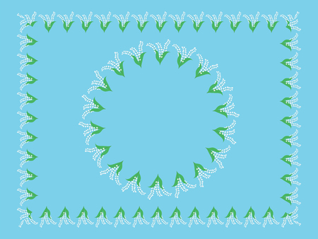 Frame border round and rectangular, field flowers lily of the valley. Set for design vector illustration. Illustration