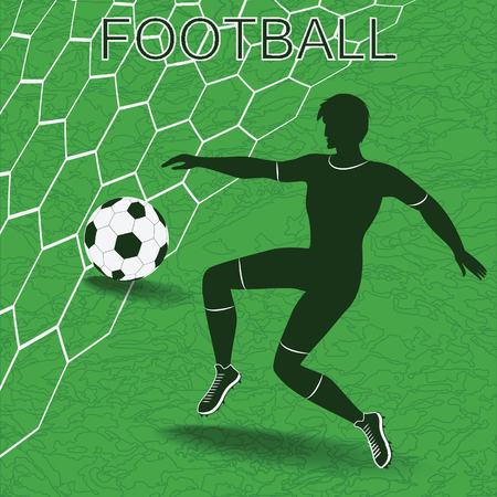 Silhouette of soccer player with ball, grid, abstract green soccer field. Art vector illustration.