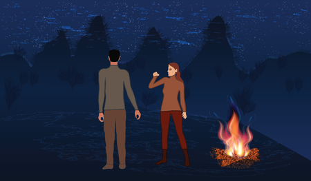Night mountain landscape, milky Way, bonfire bright, man and Woman. Art creative vector illustration. Illustration