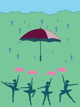 Ballerinas dancing under umbrellas - raindrops. Vector art illustration. Spring poster.