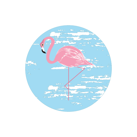 Icon flamingo pink on a blue round background. Grunge style, vector art illustration.