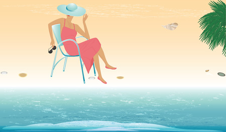 Rest on the sea. Woman in hat sits in chair and watches surf - vector art illustration. Travel Poster