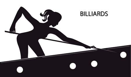 Sketch - Billiards - silhouette of woman with cue at table with balls - isolated on white background - art vector illustration