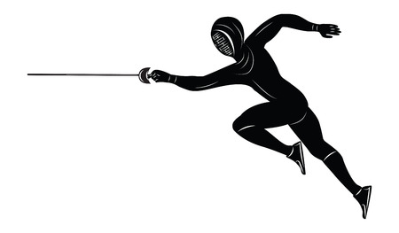 Sketch - Fencer with rapier - isolated on white background - art vector illustration