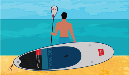 Sapboarding - man with a board for sefing and paddle stands on the sandy beach of the sea - vector illustration. Tourist poster