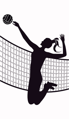 Volleyball player, jumping girl, ball, grid - isolated over white background - vector art illustration