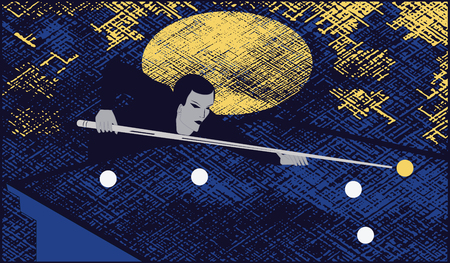 Billiards - man cue making a punch on billiard ball -art illustration vector