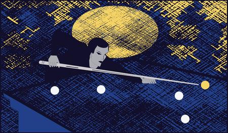 Billiards - man cue making a punch on billiard ball -art illustration vector
