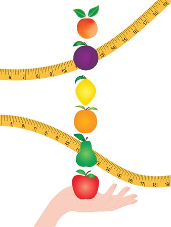 Conjunto - frutos brillantes en una mano femenina - cinta métrica - aislado en un fondo blanco - arte vectorial. .Concepto de nutrición saludable. Vitaminas
