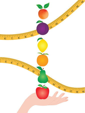 Set - bright fruits in a female hand - measuring tape - isolated on a white background - vector art. .Concept Healthy Nutrition. Vitamins.