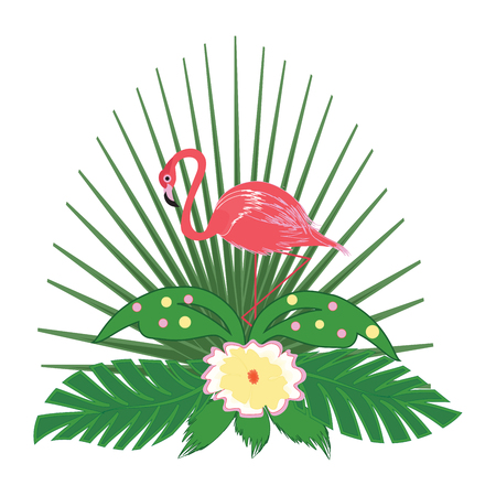 Icon - Pink flamingo - green palm leaves and yellow flower - isolated on white background - element for design - vector art