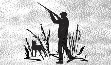 Hunter shoots with gun, hunting dog, abstract texture - morning fog - isolated on white background -art illustration vector