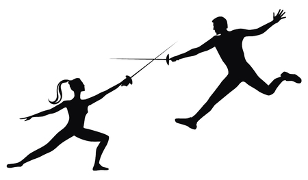 Fencing. Duel on rapiers. Silhouette of man and woman - isolated on white background - art vector