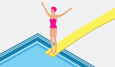 Water sport - Girl in the pool jumping from the springboard - art vector illustration 向量圖像