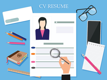 Resume letterhead with a photo - in a woman's hand magnifying glass - glasses, address book - flat style - art vector