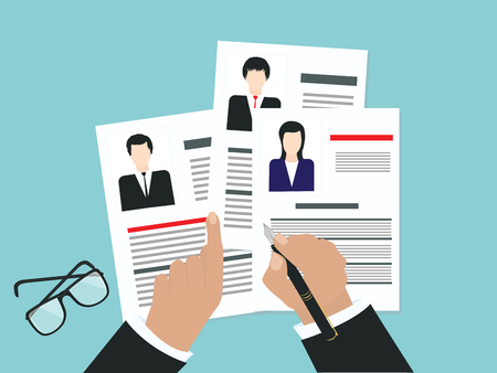 Personnel management - choice of candidate, resume forms with photo, flat style - vector illustration Concept of human resources management