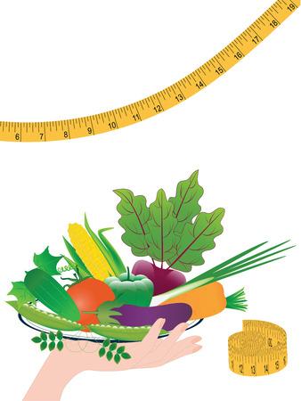 Conjunto - verduras brillantes en un plato en una mano femenina - cinta métrica - aislado en un fondo blanco - arte vectorial .. Concepto de nutrición saludable.