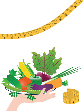 Set - bright vegetables on a plate in a female hand - measuring tape - isolated on a white background - vector art.. Concept Healthy Nutrition.