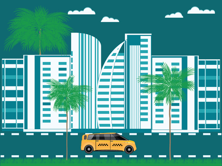 Taxi against the background of a modern southern city, with palm trees and lawn - vector art illustration. Customer service . Travel Poster