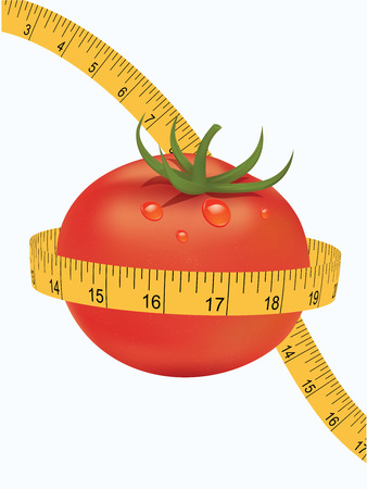 Set - realistic tomato and measuring tape - isolated on white background - art vector.