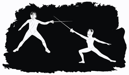 Duel of fencers - abstract black grunge background - art vector.
