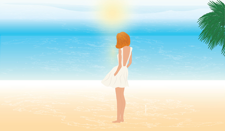Woman, modern, young, in a summer dress is standing on the seashore and looks at the sunrise - art vector illustration Illustration