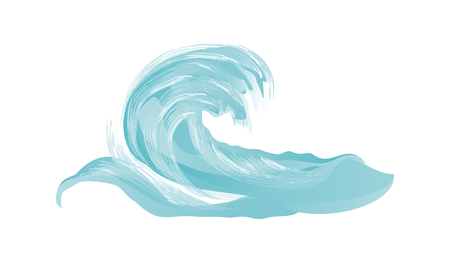 Wave of sea big blue with splashes in grunge style - surfing - isolated on white background - element for design - art vector Ilustração