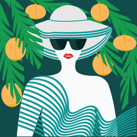 Woman in summer white hat, red lips, sunglasses - green background with exotic leaves and yellow fruits - art vector. Travel Poster