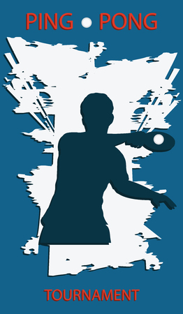 Table Tennis Tournament - grunge background - silhouette of player with racket - vector art. Sports Poster
