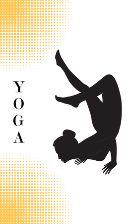 Yoga - Silhouette of a woman - stand on bent hands and with a slope of legs - isolated on white background with abstract yellow elements - art vector