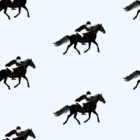 Pattern - Rider jumps on horse - black on white background - art vector Stock Illustratie