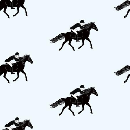 Pattern - Rider jumps on horse - black on white background - art vector Illustration