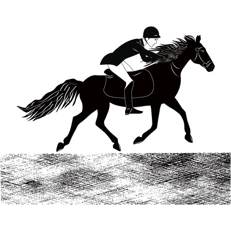 Sketch - Rider with a horse - isolated on white background - art vector illustration