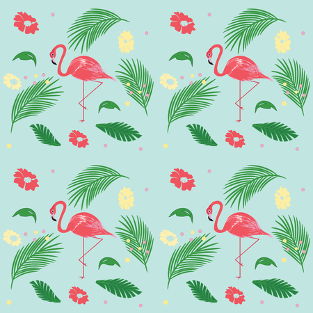 Pattern - Pink Flamingo - exotic leaves and flowers - light background - art vector