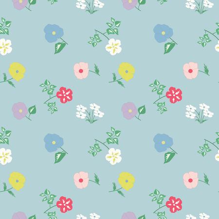 Pattern - field spring - summer delicate flowers on a light background - vector art illustration.