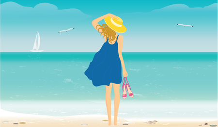 Seascape with surf, yacht, seagulls - Woman in hat and summer dress, in hand holds sandals - vector art illustration
